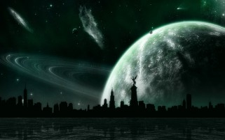 City Planet Sky River Night wallpapers and stock photos