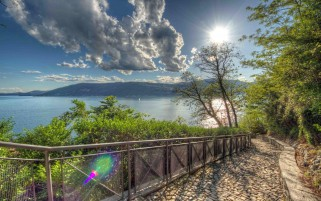 Pavement Handrail Scenic Lake wallpapers and stock photos