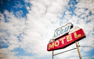 Sky Motel Sign wallpapers and stock photos