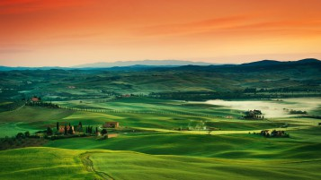 Tuscany Orange Sky wallpapers and stock photos