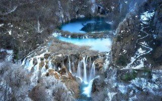 Plitvice Lake Croatia Winter wallpapers and stock photos