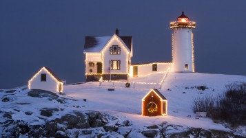 Christmas Lighthouse wallpapers and stock photos