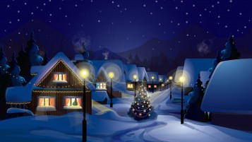 Winter Over Village wallpapers and stock photos