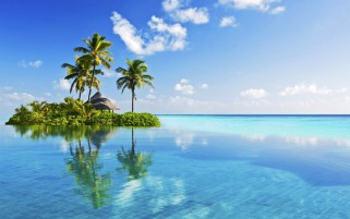 Little Tropical Island In Blue wallpapers and stock photos