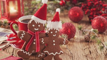 Playful Sweet Christmas Cookies wallpapers and stock photos