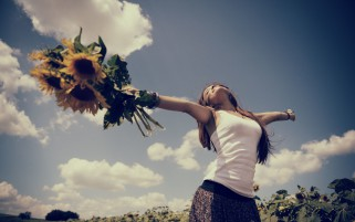 Woman Sunny Flowers Happiness wallpapers and stock photos