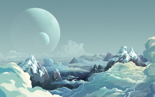 Mountains Clouds Planets Sky wallpapers and stock photos