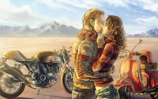 Couple Bike Kiss Mood Paint wallpapers and stock photos