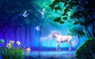 Unicorn Doves Trees Sea Magic wallpapers and stock photos