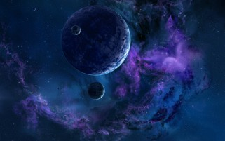 Space Planets Nebula Blue Lila wallpapers and stock photos