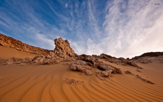 Sand Lines Rocks Sky Clouds wallpapers and stock photos