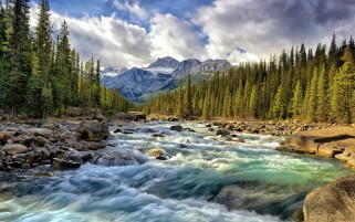 Blue Waters Of Fast River wallpapers and stock photos