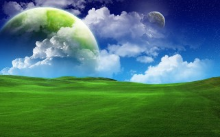 Green Field Planets Clouds Sky wallpapers and stock photos
