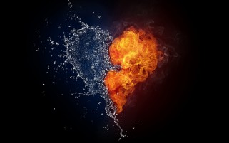 Random: Fire & Water Heart Abstract