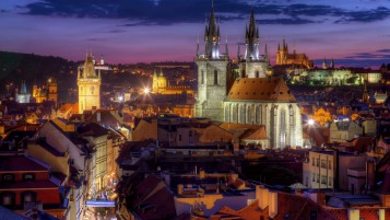 Night Lights in Prague wallpapers and stock photos