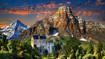 View of Neuschwanstein Castle wallpapers and stock photos