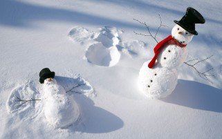 Happy Snowmen Fun wallpapers and stock photos