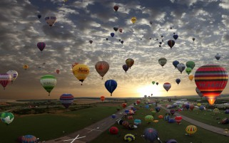 Balloons Flight Landing Field wallpapers and stock photos