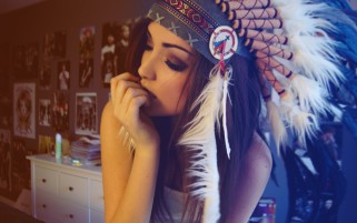 Girl Indian Hat wallpapers and stock photos