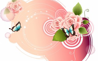 Rose Pink Butterflys Pattern wallpapers and stock photos