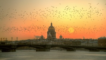 St. Petersburg Sunset View wallpapers and stock photos