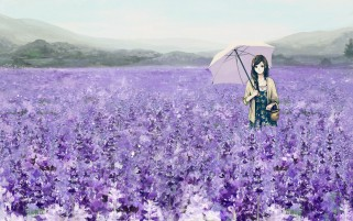 Girl Umbrella Basket Lavender wallpapers and stock photos