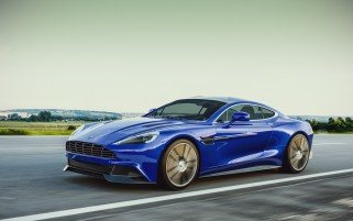 Blue Aston Martin Vanquish On wallpapers and stock photos