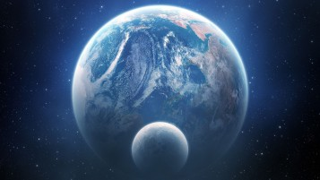 Earth and Moon Outer Space View wallpapers and stock photos