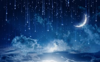 Sky Bright Stars Moon Night wallpapers and stock photos