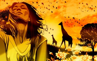 Girl Dreams Giraffes Nature wallpapers and stock photos