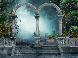 Random: Arch Gate Flowers Plants Foggy