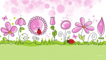 Pink Flowers Lady Bugs Garden wallpapers and stock photos