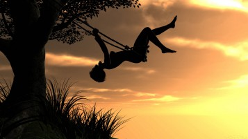 Girl Sunset Swing Effusive wallpapers and stock photos