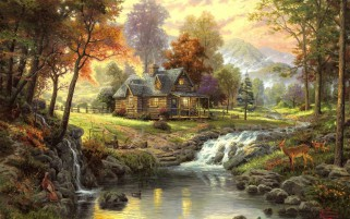 Forest Cottage Animals Creek wallpapers and stock photos