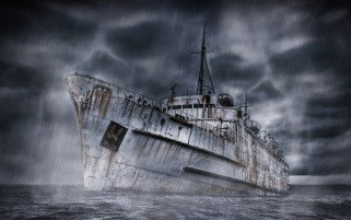 Old Ship Under Rain wallpapers and stock photos