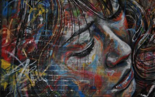Woman Profil Graffiti Wall wallpapers and stock photos