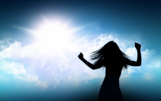 Woman Silhouette Blue Sky wallpapers and stock photos