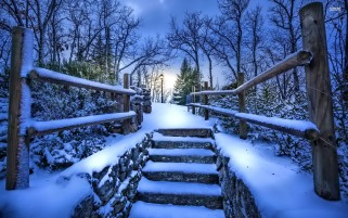 Snowy Stairway wallpapers and stock photos