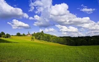 Casa en un campo verde wallpapers and stock photos