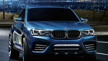 Blue BMW X4 Front Angle wallpapers and stock photos