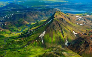 Iceland Green Mountain Snow wallpapers and stock photos