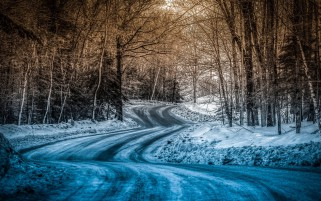 Blue Snow On The Road wallpapers and stock photos