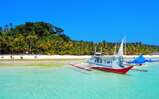 Boat On Beach Tropics wallpapers and stock photos