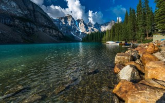 Canada Park Lake Mountains Sce wallpapers and stock photos
