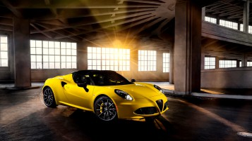 Yellow Alfa Romeo 4C Spyder wallpapers and stock photos