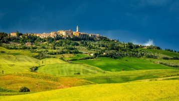Italy Pienza Tuscany Meadows wallpapers and stock photos