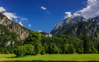 Neuschwanstein Bavaria Meadows wallpapers and stock photos