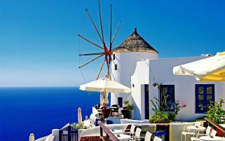 Santorini Mill Cafe wallpapers and stock photos