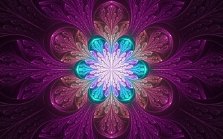 Fractal Blossom Purple & Green wallpapers and stock photos
