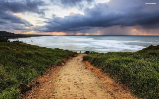 Sandy Path Ocean Grass Clouds wallpapers and stock photos